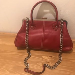 Real Leather Red Metal Chain Purse Frame Closure